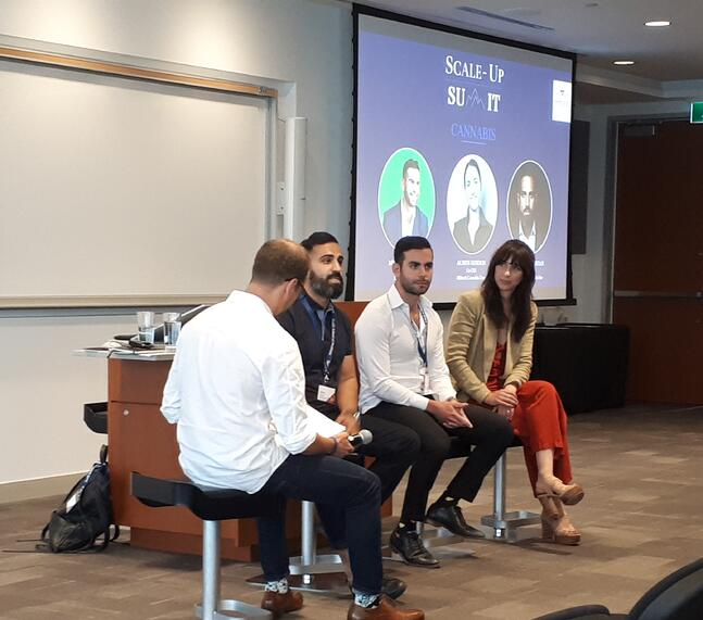 2019 Smith Scale-Up cannabis panel (right to left): Alison Gordon, Michael Garbuz, Afshin Mousavian; with moderator Brett Larson on far left